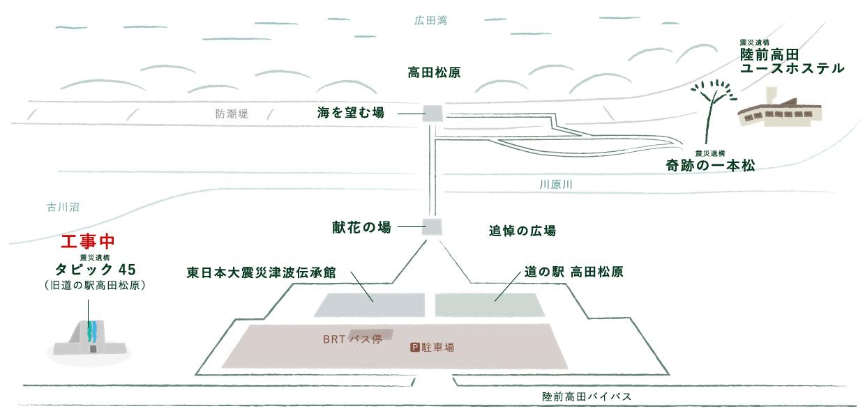 高田松原津波復興祈念公園アクセスマップ